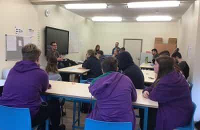 amy winehouse visitors speak to pupils
